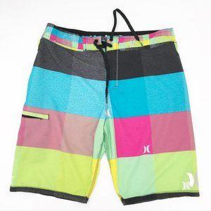 Hurley Hawaii Phantom Neon Color Block Swim Trunks